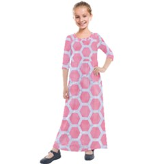 HEXAGON2 WHITE MARBLE & PINK WATERCOLOR Kids  Quarter Sleeve Maxi Dress