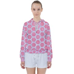 HEXAGON2 WHITE MARBLE & PINK WATERCOLOR Women s Tie Up Sweat