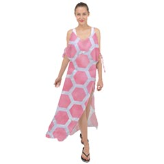 HEXAGON2 WHITE MARBLE & PINK WATERCOLOR Maxi Chiffon Cover Up Dress