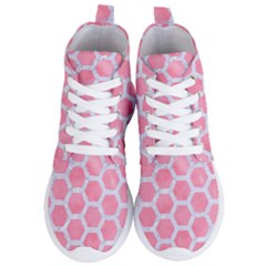 Hexagon2 White Marble & Pink Watercolor Women s Lightweight High Top Sneakers
