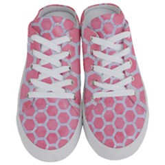 HEXAGON2 WHITE MARBLE & PINK WATERCOLOR Half Slippers