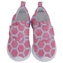 HEXAGON2 WHITE MARBLE & PINK WATERCOLOR Velcro Strap Shoes