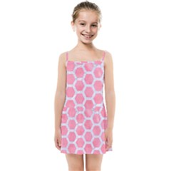 HEXAGON2 WHITE MARBLE & PINK WATERCOLOR Kids Summer Sun Dress