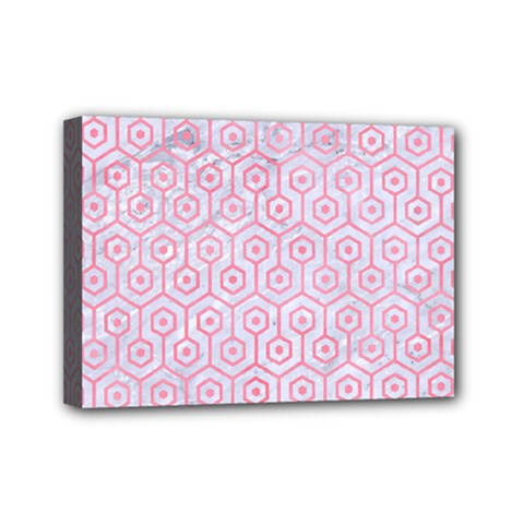 Hexagon1 White Marble & Pink Watercolor (r) Mini Canvas 7  X 5  by trendistuff