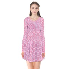 Hexagon1 White Marble & Pink Watercolor Long Sleeve V Neck Flare Dress