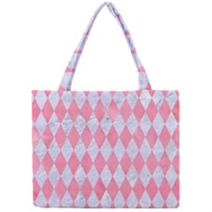 Diamond1 White Marble & Pink Watercolor Mini Tote Bag by trendistuff