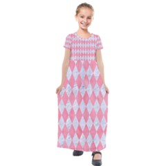 Diamond1 White Marble & Pink Watercolor Kids  Short Sleeve Maxi Dress