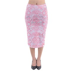 Damask2 White Marble & Pink Watercolor (r) Midi Pencil Skirt by trendistuff