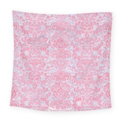 Damask2 White Marble & Pink Watercolor (r) Square Tapestry (large) by trendistuff
