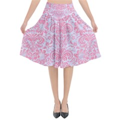 Damask2 White Marble & Pink Watercolor (r) Flared Midi Skirt