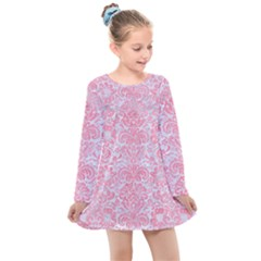 Damask2 White Marble & Pink Watercolor (r) Kids  Long Sleeve Dress