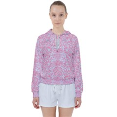 Damask2 White Marble & Pink Watercolor (r) Women s Tie Up Sweat by trendistuff