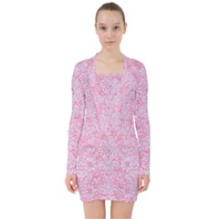 Damask2 White Marble & Pink Watercolor V Neck Bodycon Long Sleeve Dress