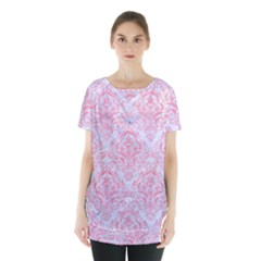 Damask1 White Marble & Pink Watercolor (r) Skirt Hem Sports Top