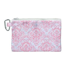Damask1 White Marble & Pink Watercolor (r) Canvas Cosmetic Bag (medium)