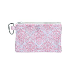 Damask1 White Marble & Pink Watercolor (r) Canvas Cosmetic Bag (small) by trendistuff