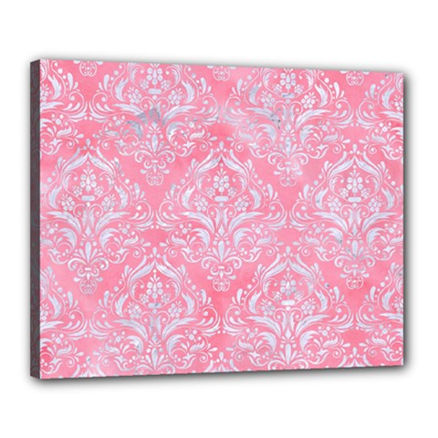 Damask1 White Marble & Pink Watercolor Canvas 20  X 16  by trendistuff