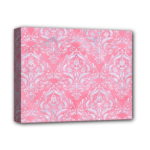 Damask1 White Marble & Pink Watercolor Deluxe Canvas 14  X 11  by trendistuff