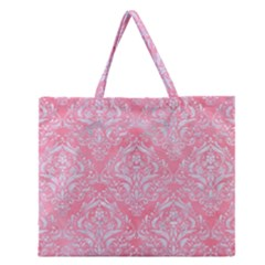 Damask1 White Marble & Pink Watercolor Zipper Large Tote Bag by trendistuff