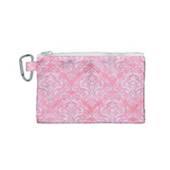 Damask1 White Marble & Pink Watercolor Canvas Cosmetic Bag (small) by trendistuff