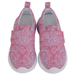 Damask1 White Marble & Pink Watercolor Velcro Strap Shoes