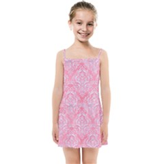 Damask1 White Marble & Pink Watercolor Kids Summer Sun Dress
