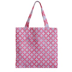 Circles3 White Marble & Pink Watercolor (r) Zipper Grocery Tote Bag by trendistuff