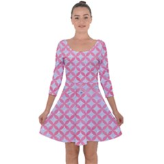 Circles3 White Marble & Pink Watercolor (r) Quarter Sleeve Skater Dress
