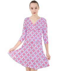 Circles3 White Marble & Pink Watercolor Quarter Sleeve Front Wrap Dress by trendistuff