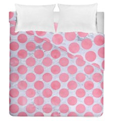 Circles2 White Marble & Pink Watercolor (r) Duvet Cover Double Side (queen Size) by trendistuff
