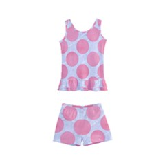 Circles2 White Marble & Pink Watercolor (r) Kid s Boyleg Swimsuit