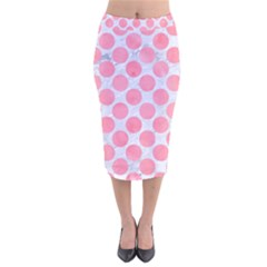 Circles2 White Marble & Pink Watercolor (r) Velvet Midi Pencil Skirt