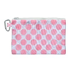Circles2 White Marble & Pink Watercolor (r) Canvas Cosmetic Bag (large) by trendistuff