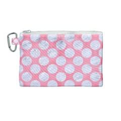 Circles2 White Marble & Pink Watercolor Canvas Cosmetic Bag (medium)