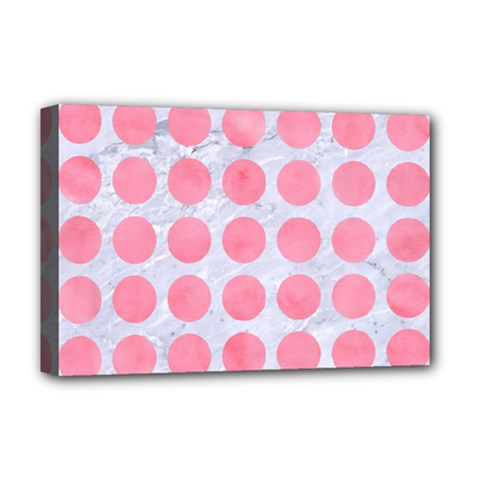 Circles1 White Marble & Pink Watercolor (r) Deluxe Canvas 18  X 12   by trendistuff