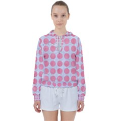 Circles1 White Marble & Pink Watercolor (r) Women s Tie Up Sweat