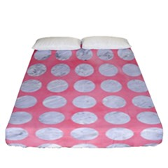Circles1 White Marble & Pink Watercolor Fitted Sheet (california King Size) by trendistuff