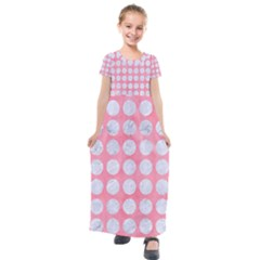 Circles1 White Marble & Pink Watercolor Kids  Short Sleeve Maxi Dress