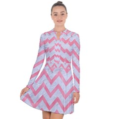Chevron9 White Marble & Pink Watercolor (r) Long Sleeve Panel Dress