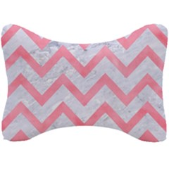 Chevron9 White Marble & Pink Watercolor (r) Seat Head Rest Cushion by trendistuff