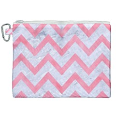 Chevron9 White Marble & Pink Watercolor (r) Canvas Cosmetic Bag (xxl) by trendistuff