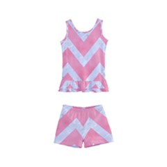 Chevron9 White Marble & Pink Watercolor Kid s Boyleg Swimsuit