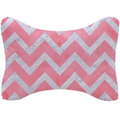 Chevron9 White Marble & Pink Watercolor Seat Head Rest Cushion by trendistuff