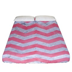 Chevron3 White Marble & Pink Watercolor Fitted Sheet (california King Size) by trendistuff