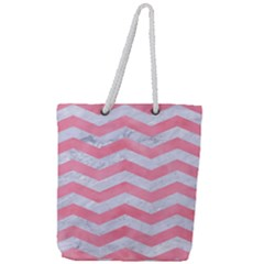 Chevron3 White Marble & Pink Watercolor Full Print Rope Handle Tote (large) by trendistuff