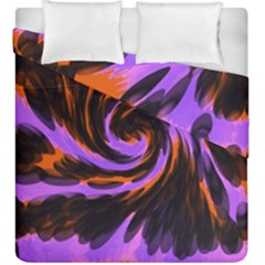 Swirl Black Purple Orange Duvet Cover Double Side (king Size) by BrightVibesDesign