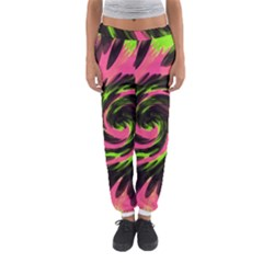 Swirl Black Pink Green Women s Jogger Sweatpants by BrightVibesDesign