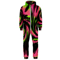 Swirl Black Pink Green Hooded Jumpsuit (men)  by BrightVibesDesign