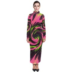 Swirl Black Pink Green Turtleneck Maxi Dress