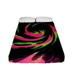 Swirl Black Pink Green Fitted Sheet (full/ Double Size) by BrightVibesDesign